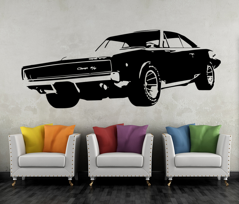 Wandtattoo dodge charger r t 1968 muscle car oldtimer - Wandtattoo cars ...