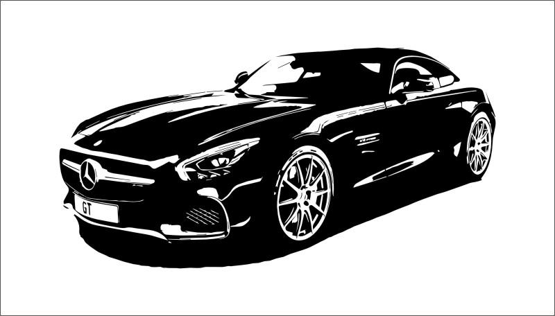 wandtattoo mercedes amg gt 150 x 76 cm wandbild aufkleber tattoo sportwagen ebay. Black Bedroom Furniture Sets. Home Design Ideas